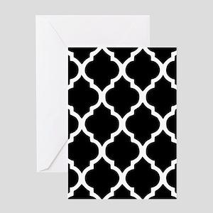 Quatrefoil Black and White Greeting Card