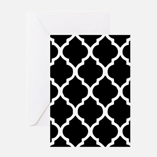 Quatrefoil Black and White Greeting Card