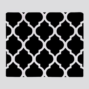 Quatrefoil Black and White Throw Blanket