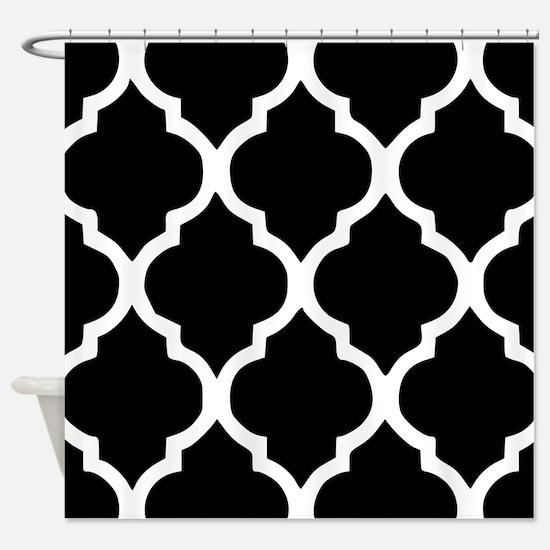 Quatrefoil Black and White Shower Curtain