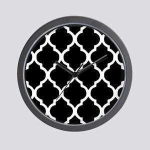 Quatrefoil Black and White Wall Clock