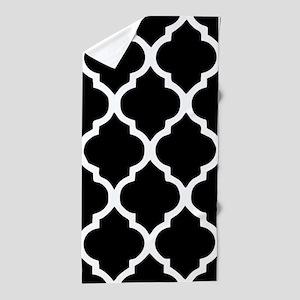 Quatrefoil Black and White Beach Towel