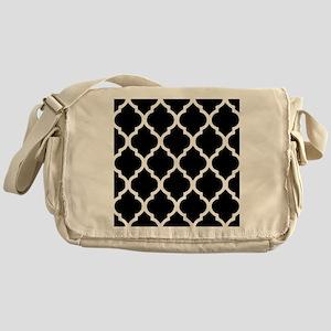 Quatrefoil Black and White Messenger Bag