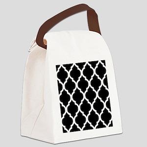 Quatrefoil Black and White Canvas Lunch Bag