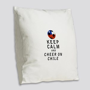 Keep Calm and Cheer On Chile Burlap Throw Pillow