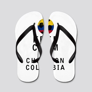 Keep Calm and Cheer On Colombia Flip Flops