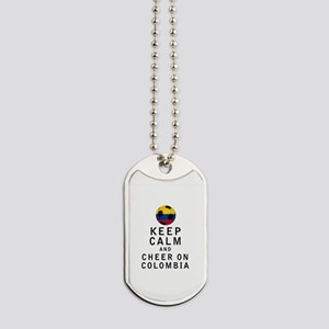 Keep Calm and Cheer On Colombia Dog Tags