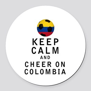 Keep Calm and Cheer On Colombia Round Car Magnet