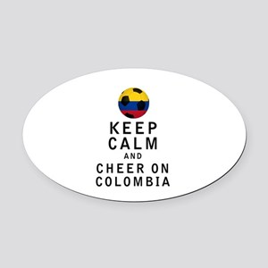 Keep Calm and Cheer On Colombia Oval Car Magnet