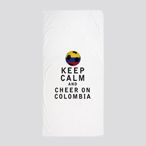 Keep Calm and Cheer On Colombia Beach Towel