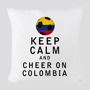 Keep Calm and Cheer On Colombia Woven Throw Pillow