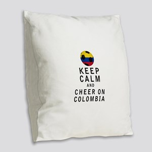 Keep Calm and Cheer On Colombia Burlap Throw Pillo