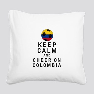 Keep Calm and Cheer On Colombia Square Canvas Pill