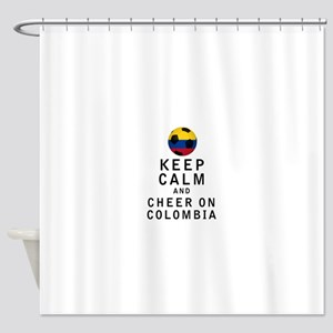 Keep Calm and Cheer On Colombia Shower Curtain