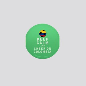 Keep Calm and Cheer On Colombia FULL Mini Button (