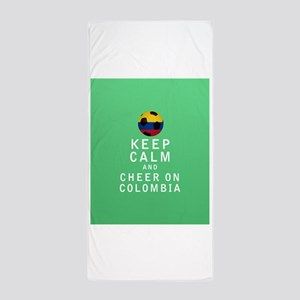 Keep Calm and Cheer On Colombia FULL Beach Towel