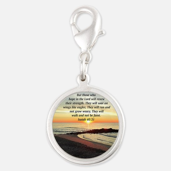 ISAIAH 40:31 Silver Round Charm