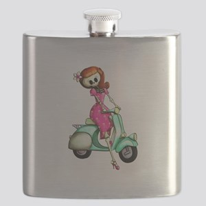 Skeleton Girl on The Scooter Flask