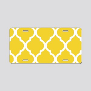 Yellow and White Chic Moroc Aluminum License Plate