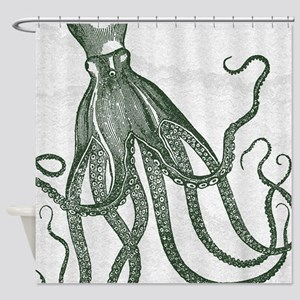Beautiful Vintage Octopus In Deep Shower Curtain
