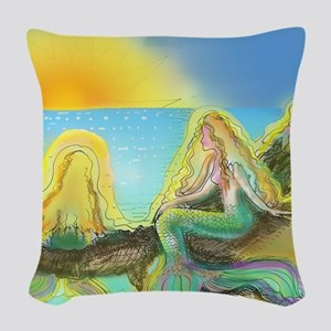 Colorful Mermaids Woven Throw Pillow