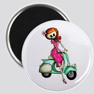 Skeleton Girl on The Scooter Magnets