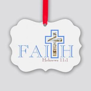 Faith With Wheat Cross Picture Ornament