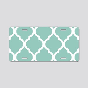 Aqua Chic Moroccan Lattice Aluminum License Plate