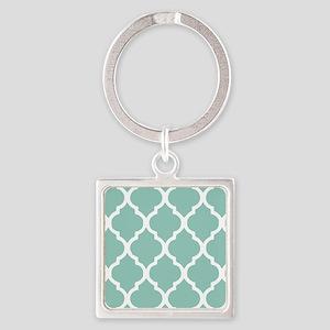 Aqua Chic Moroccan Lattice Pattern Square Keychain