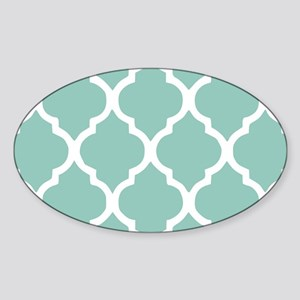 Aqua Chic Moroccan Lattice Pattern Sticker (Oval)