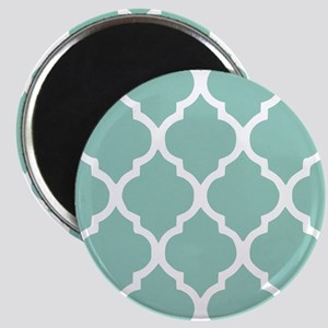 Aqua Chic Moroccan Lattice Pattern Magnet
