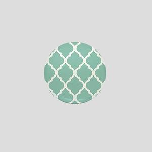 Aqua Chic Moroccan Lattice Pattern Mini Button