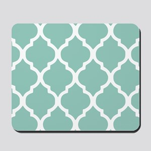 Aqua Chic Moroccan Lattice Pattern Mousepad