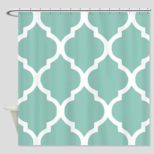 Aqua Chic Moroccan Lattice Pattern Shower Curtain