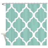 Aqua chic moroccan lattice pattern Shower Curtains