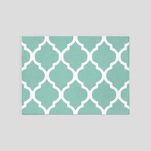 Aqua Chic Moroccan Lattice Pattern 5'x7'Area Rug