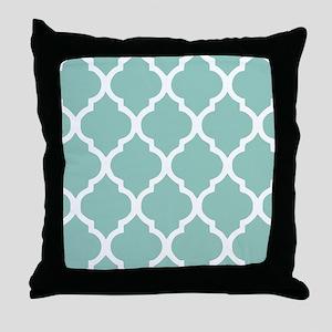 Aqua Chic Moroccan Lattice Pattern Throw Pillow