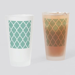 Aqua Chic Moroccan Lattice Pattern Drinking Glass