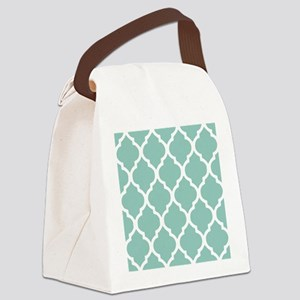 Aqua Chic Moroccan Lattice Patter Canvas Lunch Bag