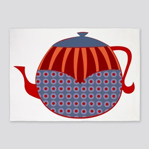 Rolly Retro Teapot (unlined) 5'x7'Area Rug