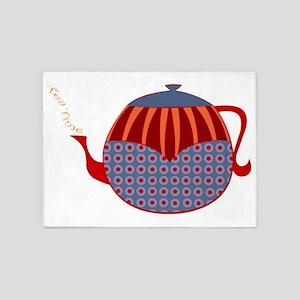 Tea Time Rolly Retro Teapot 5'x7'Area Rug