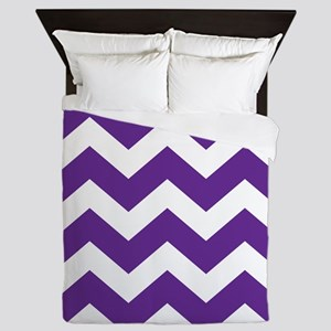 Purple And White Chevron Queen Duvet