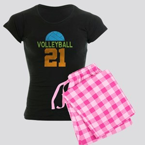 Volleyball player number 21 Women's Dark Pajamas