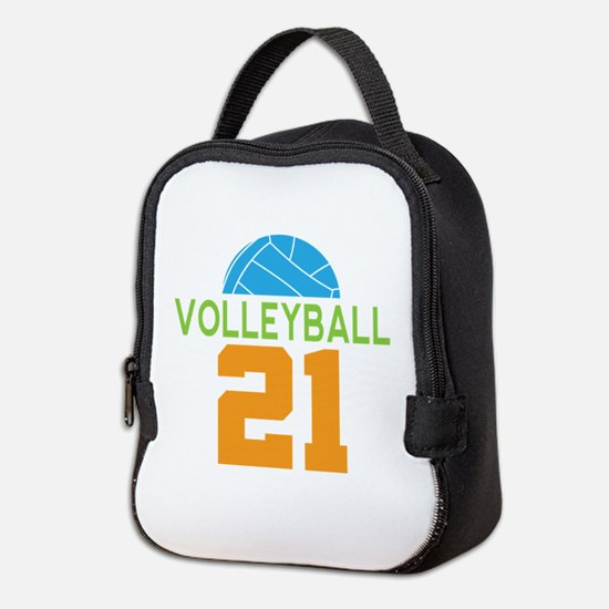 Volleyball player number 21 Neoprene Lunch Bag