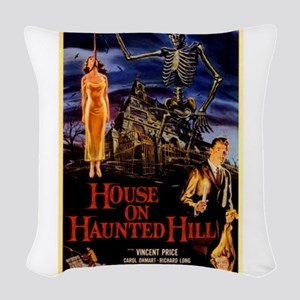house on haunted hill Woven Throw Pillow