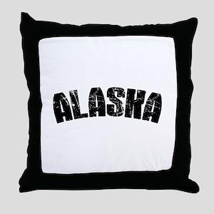 Alaska Block Font Black Throw Pillow