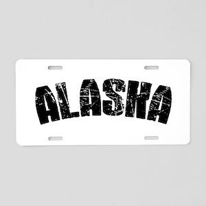 Alaska Block Font Black Aluminum License Plate