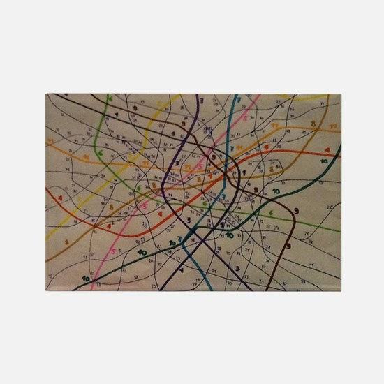 Subway map Rectangle Magnet