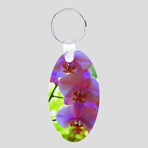 Orchidées Aluminum Oval Keychain