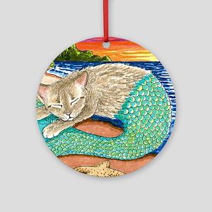 Cat Mermaid 23 Round Ornament